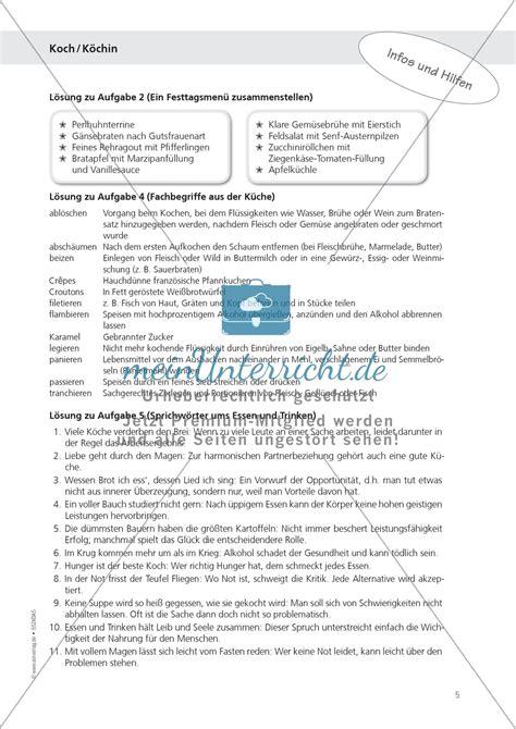 Bewerbung Ausbildung Kochin Muster Berufe Koch Und K 246 Chin 252 Und Speiseplan Erstellen Aufgaben L 246 Sungen Meinunterricht De