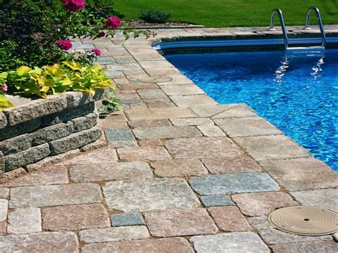 stone deck ideas above ground pool deck ideas with pavers