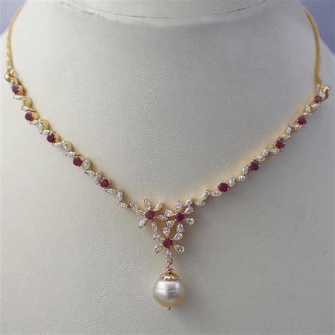 Sleek Ruby Diamond Necklace   Jewellery Designs