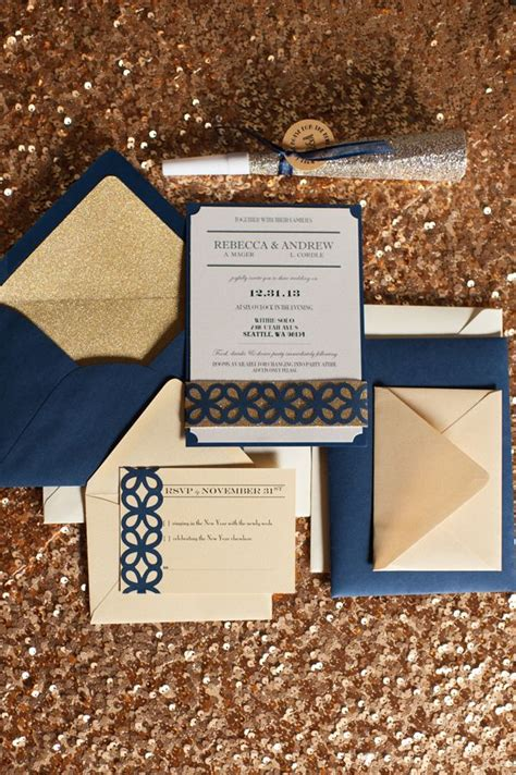 navy blue and gold wedding invitations seattle new year s wedding