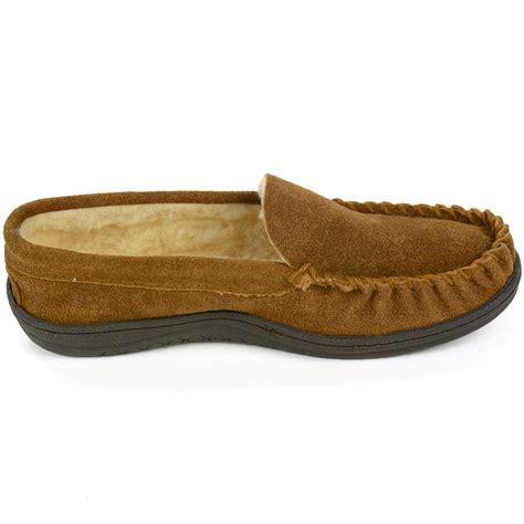 shearling moccasin slippers alpine swiss yukon mens suede shearling moccasin slippers
