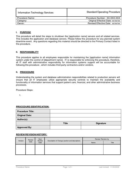 standard operating procedures templates 28 standard sop template sop template writing a