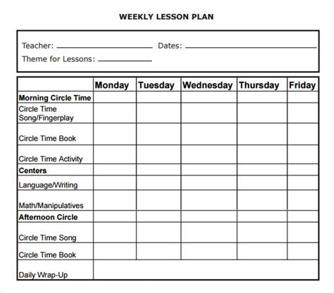 weekly lesson plan template excel 5 free lesson plan templates excel pdf formats