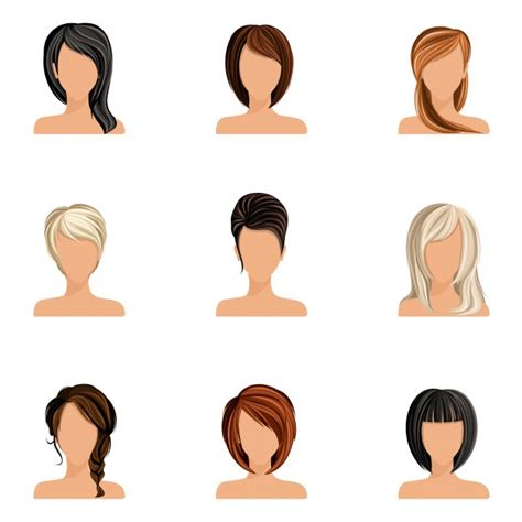 girl hairstyles vector women hairstyles collection vector premium download