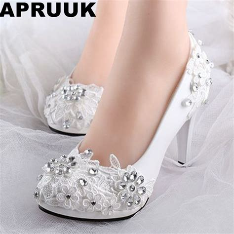 lace wedding pumps low high heels bridal wedding shoes white rhinestones lace