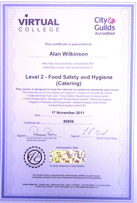 food safety and hygiene certificate valarie craine
