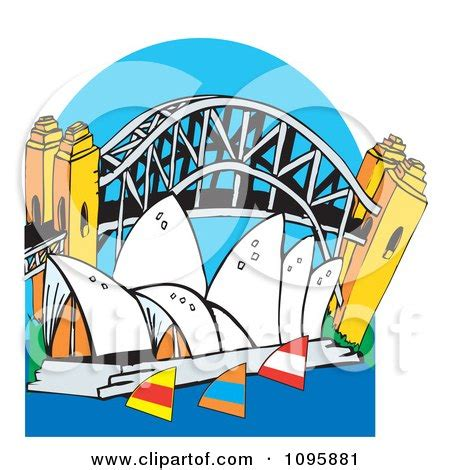 clipart the australian sydney harbor bridge and opera