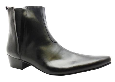 pointed toe boots mens gucinari s black leather slip on pointed toe leather