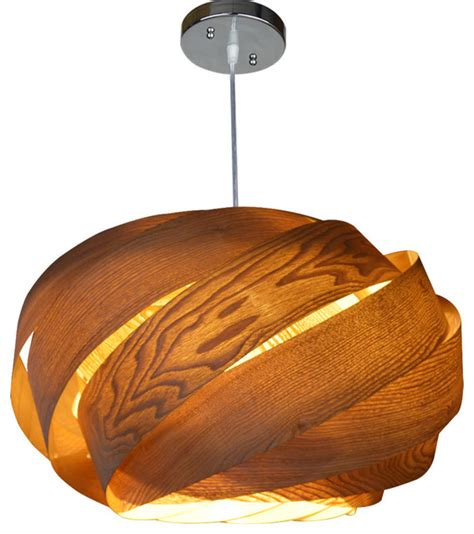 Wooden Ribbon Pendant Lamp Contemporary Pendant Lighting by Oaklamp Deco Lighting