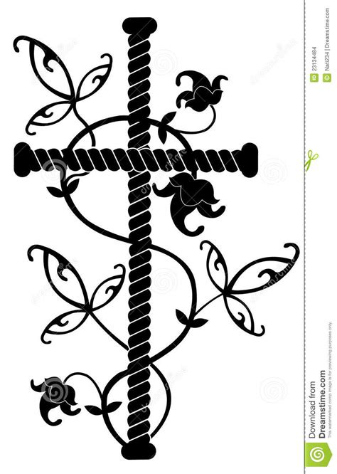 rock tattoo black cross with flowers ornament stock