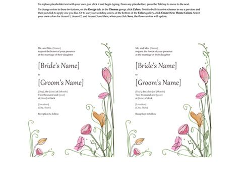 Wedding Invitations Watercolor Design 2 Per Page Works With Avery 5389 Word Invitation Template 2 Per Page