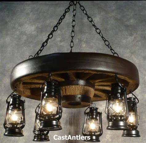 Chandeliers Made In Usa 30 Quot Reproduction Hanging Lantern Wagon Wheel Chandelier Chd Antler Made In Usa Ebay