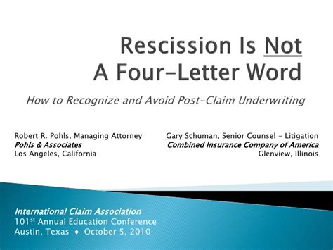 Mortgage Rescission Letter Rescission Is Not A Four Letter Word