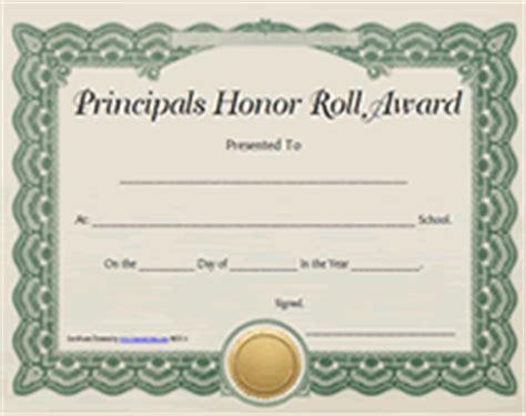 Printable Principals Honor Roll Awards Certificates Templates