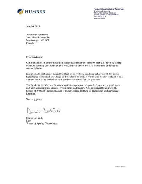 Humber College Acceptance Letter reference letter amandeep randhawa