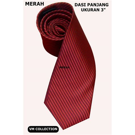 Dasi Purple Tie dasi panjang motif garis timbul warna merah 3 inch
