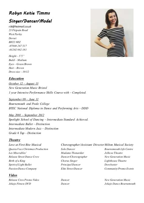 Resume Sample Pictures by Robyn Performance Cv Up To Date