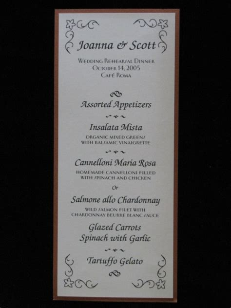 rehearsal dinner menu template rehearsal dinner invitation with menu choice