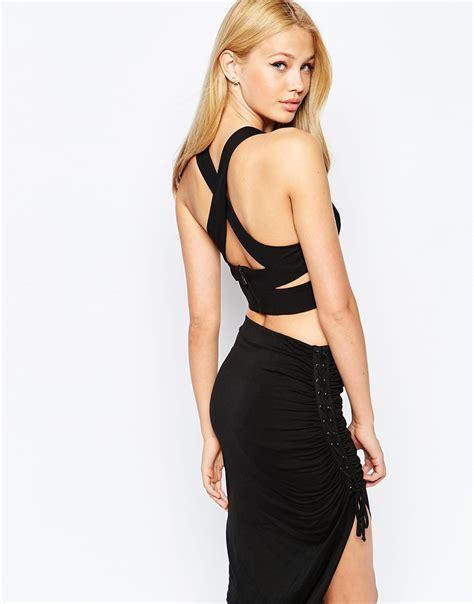 Lyst Bardot Cross Back Crop Top In Black Black Cross On Back