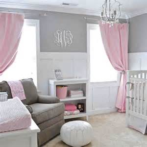 pink grey and white nursery for the home