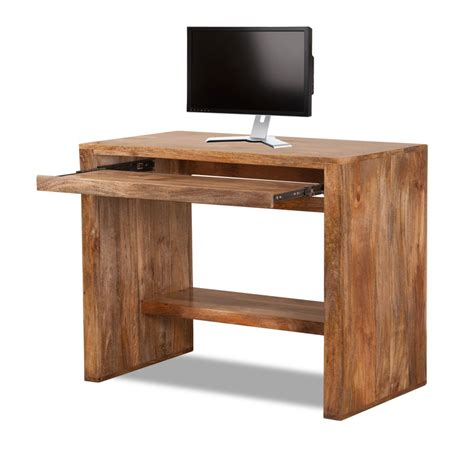solid wood roll out desk solid mango wood computer desk casa bella handcrafted