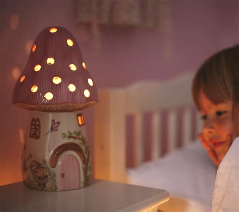 childrens pink fairy mushroom lamp white rabbit england