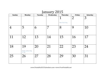 printable month calendar january 2015 printable january 2015 calendar