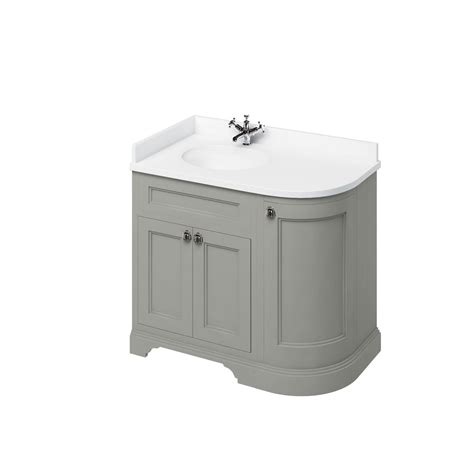 rounded corner bathroom vanity burlington 1000mm curved vanity unit olive left hand