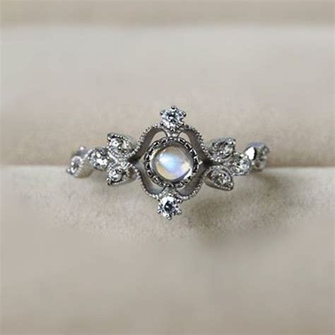 Vintage Rings by Inexpensive Classic Vintage Deco Silver Blue Moonstone
