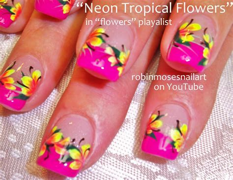 Nails Blumen by Neon Bright Flower Nail Neon Rainbow Nails
