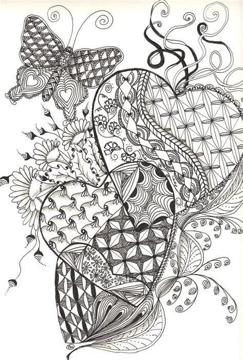 zentangle patterns coloring pages 675 best images about art zentangle heart on pinterest