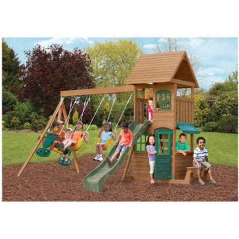 small backyard swing sets big backyard windale wooden swing set walmart