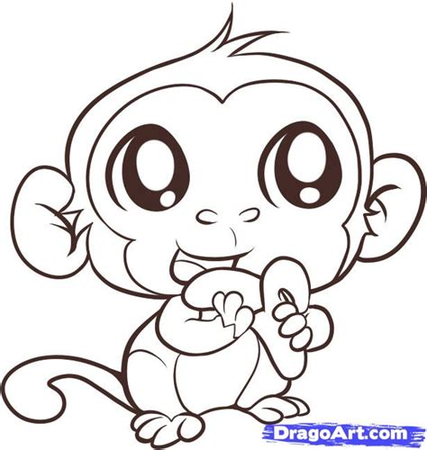 easy monkey coloring pages how to draw an easy monkey step by step forest animals