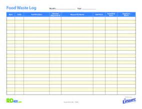 Food Waste Log Template best photos of food log sheet exle food diary exle