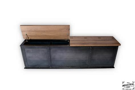 metal storage bench steel storage bench solid walnut top real industrial