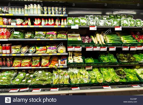 Shelf Of Refrigerated Foods by Shelf With Food In A Supermarket Refrigerated Fruit Juices Salad Stock Photo Royalty Free