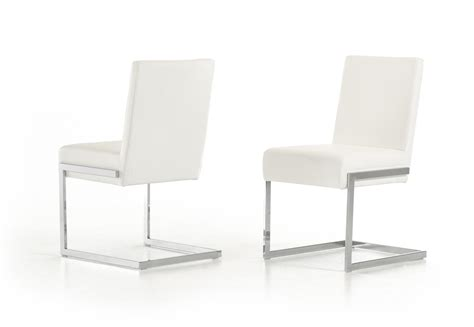 modern dining chairs white batavia modern white leatherette dining chair set of 2