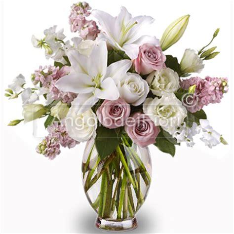 co d fiori bouquet di lilium bianchi e rosa ordina consegna a