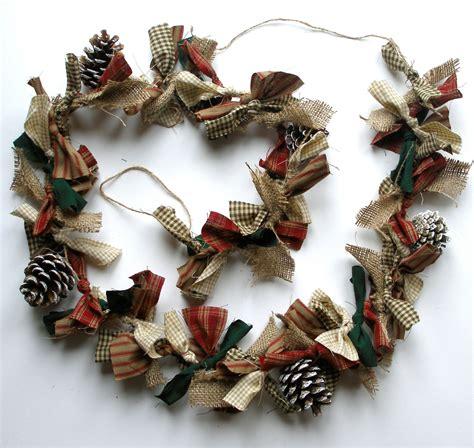 Handmade Garland - garland rag garland pine cones