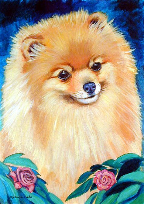 pomeranian painting garden bud pomeranian painting by lyn cook