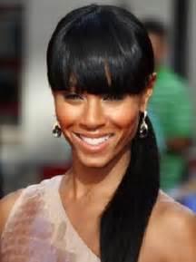black ponytail hairstyles with bangs