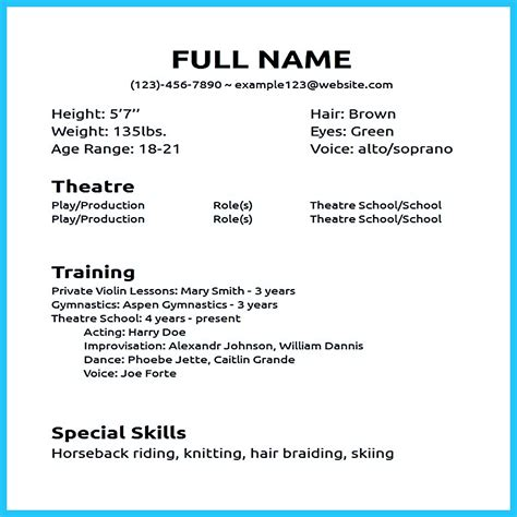 Acting Resume Template No Experience by Actor Resume Sle Presents How You Will Make Your