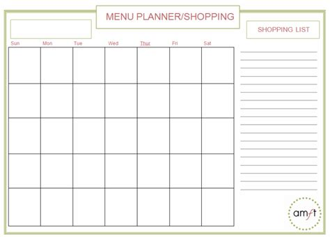 monthly food menu template monthly and weekly menu planners free printables amft