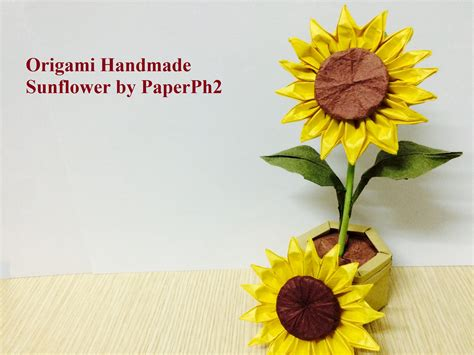 Sunflower With Paper - handmade origami sunflower part1 make sunflower