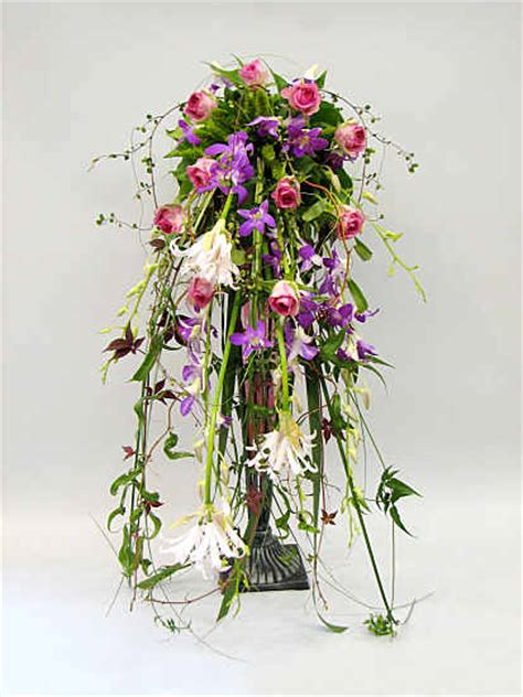 flower design materials waterfall materials used roses lilies and a multitude