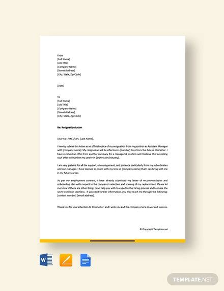 restaurant manager resignation letter template word