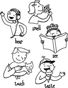 children 5 senses coloring wecoloringpage