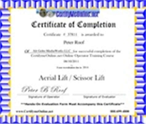 scissor lift certification card template roof education