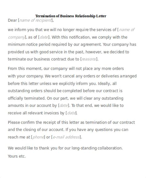 sample termination business letter templates