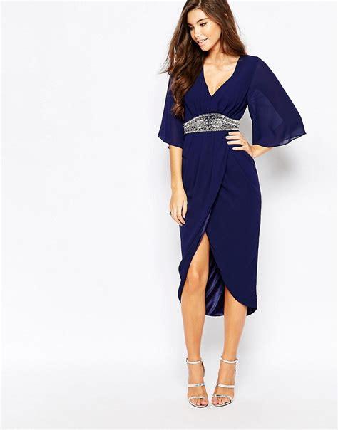 tfnc tfnc embellished midi dress with kimono sleeves